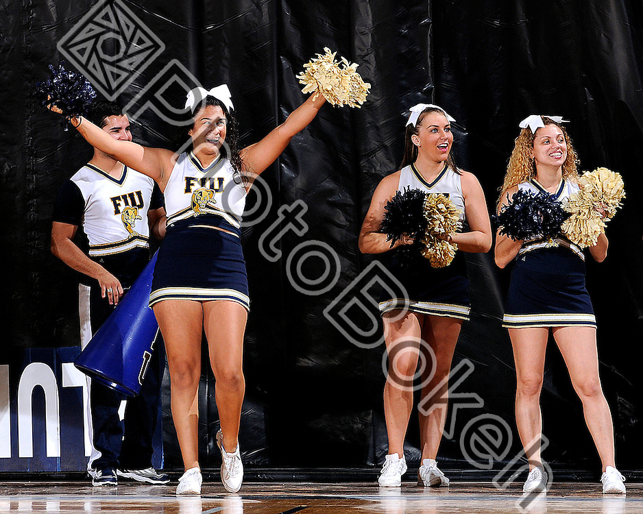 2011 November 21 - FIU's Cheerleaders performing on the sidelines. Florida International University Golden Panthers defeated the Rattlers of of Florida A&M, 79-64, at the U.S. Century Bank Arena, Miami, Florida. (Photo by: www.photobokeh.com / Alex J. Hernandez) 1/250 f/7.1 ISO400 300mm