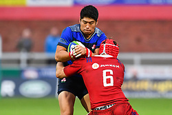 Rikiya Matsuda of Japan is tackled by Vitaly Zhivatov of Russia <br /> <br /> Photographer Craig Thomas<br /> <br /> Japan v Russia<br /> <br /> World Copyright ©  2018 Replay images. All rights reserved. 15 Foundry Road, Risca, Newport, NP11 6AL - Tel: +44 (0) 7557115724 - craig@replayimages.co.uk - www.replayimages.co.uk
