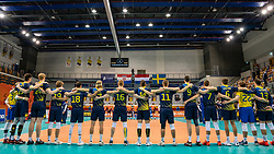 Line up Sweden for National Anthem during the CEV Eurovolley 2021 Qualifiers between Sweden and Netherlands at Topsporthall Omnisport on May 14, 2021 in Apeldoorn, Netherlands