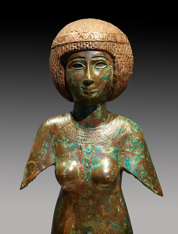 Ancient Egyptian bronze statue of Meres-Amun. Ancient Egypt 22nd Dynaty, 850 BC. Neues Museum Berlin Cat No: AM 32321. .<br /> <br /> If you prefer to buy from our ALAMY PHOTO LIBRARY  Collection visit : https://www.alamy.com/portfolio/paul-williams-funkystock/ancient-egyptian-art-artefacts.html  . Type -   Neues    - into the LOWER SEARCH WITHIN GALLERY box. Refine search by adding background colour, subject etc<br /> <br /> Visit our ANCIENT WORLD PHOTO COLLECTIONS for more photos to download or buy as wall art prints https://funkystock.photoshelter.com/gallery-collection/Ancient-World-Art-Antiquities-Historic-Sites-Pictures-Images-of/C00006u26yqSkDOM