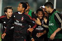 """Esultanza di Robinho Milan dopo il gol<br /> Brescia, 23/04/2011 Stadio """"Rigamonti""""<br /> Brescia-Milan<br /> Campionato Italiano Serie A 2010/2011<br /> Foto Nicolo' Zangirolami Insidefoto"""