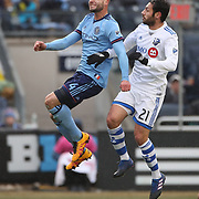 NEW YORK, NEW YORK - March 18:  Maxime Chanot #4 of New York City FC is challenged by Matteo Mancosu #21 of Montreal Impact during the New York City FC Vs Montreal Impact regular season MLS game at Yankee Stadium on March 18, 2017 in New York City. (Photo by Tim Clayton/Corbis via Getty Images)
