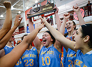 Maine West Warriors' celebrate winning the 4A Niles West Sectional Girls' basketball final at Niles West High School in Skokie, Illinois.<br /> Jim Young/Chicago Tribune