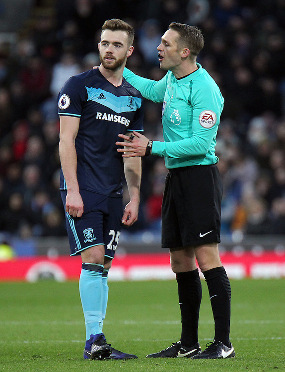 Referee Craig Pawson has a word with Middlesbrough's Calum Chambers<br /> <br /> Photographer Rich Linley/CameraSport<br /> <br /> The Premier League - Burnley v Middlesbrough - Monday 26th December 2016 - Turf Moor - Burnley<br /> <br /> World Copyright © 2016 CameraSport. All rights reserved. 43 Linden Ave. Countesthorpe. Leicester. England. LE8 5PG - Tel: +44 (0) 116 277 4147 - admin@camerasport.com - www.camerasport.com
