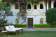 Garden at Rawla Narlai, 17th Century merchant's house now a luxury heritage hotel in Narlai, Rajasthan, Northern India