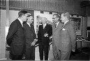 04/06/1964<br /> 06/04/1964<br /> 04 June 1964<br /> Anodising Ltd. Reception for opening of the new factory at Finglas, Dublin. Anodising the electrochemical means of building an aluminium oxide film on aluminium to render the surface harder and abrasion resistant, to increase corrosion resistance, allow the permanent colouring of aluminium and to preserve the appearance.  At the reception hosted by the German-Irish firm were: (l-r) Mr. B.D. Gillespie, Director; Mr. P.M. Greer, Chairman; Mr. O. Kereon, Director; Mr. Werner Wetzki, Managing Director and Mr. Irwin Pearson, Director.