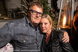 Custom bike builder Fred Kodlin and Jelena Billo at the Custom Chrome Europe party during the Intermot International Motorcycle Fair. Cologne, Germany. Friday October 5, 2018. Photography ©2018 Michael Lichter.