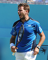 Tennis - 2018 Queen's Club Fever-Tree Championships - Day One, Monday<br /> <br /> Men's Singles, First Round: Stan Wawrinka (SUI) vs. Cameron Norrie (GBR)<br /> <br /> Stan Wawrinka celebrates his win over Cameron Norrie in two sets , on Centre Court.<br /> <br /> COLORSPORT/ANDREW COWIE