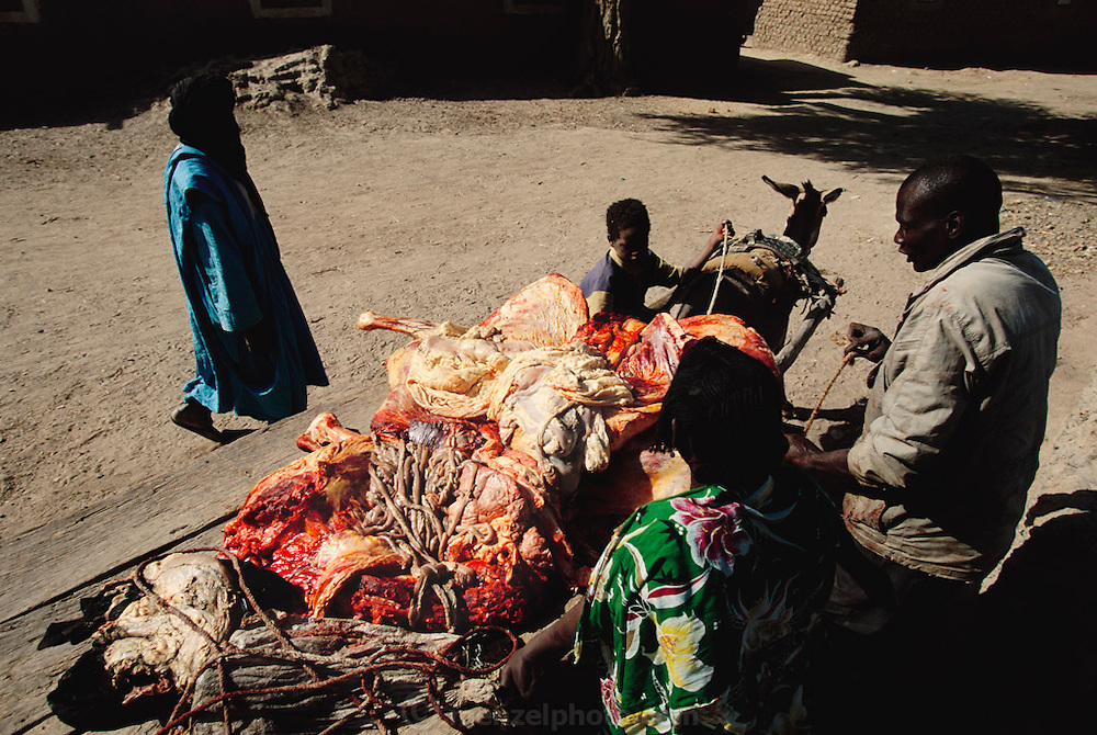 Freshly slaughtered beef on a cart, for sale in the village of Kouakourou, Mali. Africa.