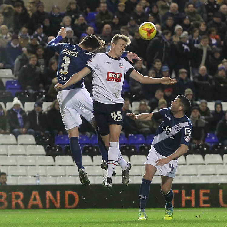 Bolton Wanderers Rob Holding jumps with Birmingham City's Jonathan Grounds<br /><br />Photographer Mick Walker/CameraSport<br /><br />Football - The Football League Sky Bet Championship - Birmingham City v Bolton Wanderers - Tuesday 23rd February 2016 -  St Andrews - Birmingham<br /><br />© CameraSport - 43 Linden Ave. Countesthorpe. Leicester. England. LE8 5PG - Tel: +44 (0) 116 277 4147 - admin@camerasport.com - www.camerasport.com