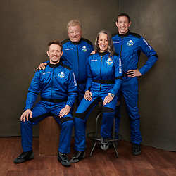 Handout photo dated October 10, 2021. The crew of NS-18. Pictured left to right: Dr. Chris Boshuizen, William Shatner, Audrey Powers, and Glen de Vries. Hollywood actor William Shatner has become the oldest person to go to space as he blasted off aboard the Blue Origin sub-orbital capsule. The 90-year-old, who played Captain James T Kirk in the Star Trek films and TV series, took off from the Texas desert with three other individuals. Mr Shatner's trip on the rocket system - developed by Amazon.com founder Jeff Bezos - lasted about 10 minutes. Photo by Blue Origin via ABACAPRESS.COM