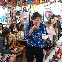 Seniors enjoy ice cream before their interviews with members of the Rotary Club during the senior of the year award luncheon at Sammy C's in Gallup on Apr. 17.