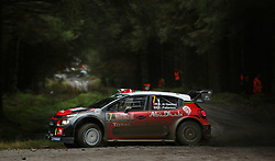 Khalid al Qassimi of United Arab Emirates and Citroen Total Abu Dhabi WRT drives with co-driver Chris Patterson of Great Britain during day four of the Dayinsure Wales Rally GB. PRESS ASSOCIATION Photo. Picture date: Sunday October 29, 2017. Photo credit should read: David Davies/PA Wire