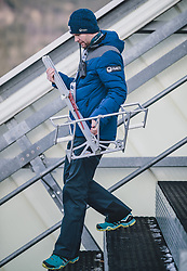 31.12.2019, Olympiaschanze, Garmisch Partenkirchen, GER, FIS Weltcup Skisprung, Vierschanzentournee, Garmisch Partenkirchen, Qualifikation, im Bild Morten Solem (FIS) mit dem Anzugsschrittmessgerät // Morten Solem (FIS) with the suit measuring device during the Four Hills Tournament of FIS Ski Jumping World Cup at the Olympiaschanze in Garmisch Partenkirchen, Germany on 2019/12/31. EXPA Pictures © 2019, PhotoCredit: EXPA/ JFK