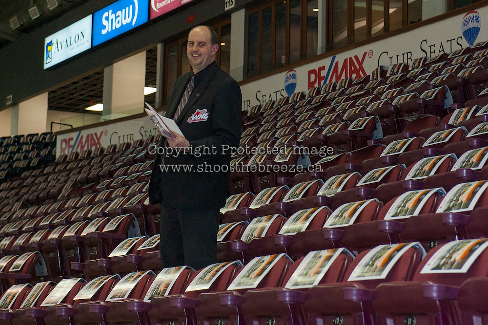 KELOWNA, CANADA - FEBRUARY 10: Lorne Craig amid the seats of Prospera Place covered in clackers from Scotia Wealth Management on February 10, 2017 at Prospera Place in Kelowna, British Columbia, Canada.  (Photo by Marissa Baecker/Shoot the Breeze)  *** Local Caption ***