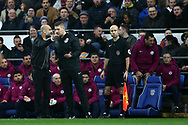 Pep Guardiola, the Manchester city manager speaks with the referee's  assistants during the Emirates FA Cup, 4th round match, Cardiff city v Manchester City at the Cardiff City Stadium in Cardiff, South Wales on Saturday 28th January 2018.<br /> pic by Andrew Orchard, Andrew Orchard sports photography.