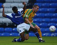 Fotball<br /> Treningskamper England<br /> Foto: SBI/Digitalsport<br /> NORWAY ONLY<br /> <br /> Peterborough United v Norwich City<br /> Pre season friendly.  3/8/04<br /> <br /> Norwich City's Jim Brennan and Peterborough United's Adam Newton