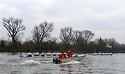 """LONDON, ENGLAND - Thursday  13/12/2012; Cambridge University Crews, [R] """"Bangers""""  leads """"Mash"""", as both crews pass dukes Meadows, during the annual Varsity trial 8's for The BNY Melon University Boat Race over the Championship Course [Putney to Mortlake]. The River Thames, England. (Mandatory Credit/ Peter  Spurrier/Intersport Imag"""