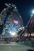 The Wonder Wheel at Coney Island's Luna Park at night.