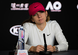 January 19, 2019 - Melbourne, AUSTRALIA - Simona Halep of Romania talks to the media after winning her third-round match at the 2019 Australian Open Grand Slam tennis tournament (Credit Image: © AFP7 via ZUMA Wire)