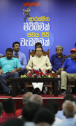 May 1, 2019 - Colombo, Sri Lanka - Sri Lanka's President Maithripala Sirisena attends Sri Lanka Freedom Party's Labor Celebration in Colombo on 01 May, 2019. Due to the Easter bomb blast on 21st April 2019, Sri Lankan major political parties announced to cancel May Day rallies. (Credit Image: © Pradeep Dambarage/ZUMA Wire)