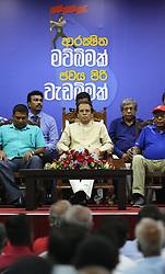 May 1, 2019 - Colombo, Sri Lanka - Sri Lanka's President Maithripala Sirisena attends Sri Lanka Freedom Party's Labor Celebration in Colombo on 01 May, 2019. Due to the Easter bomb blast on 21st April 2019, Sri Lankan major political parties announced to cancel May Day rallies. (Credit Image: © Pradeep Dambarage/ZUMA Wire)