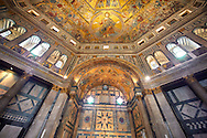 The interior of the Bapistry of Florence  Duomo ( Battistero di San Giovanni ) with the medieval ceiling mosaics. Florence Italy .<br /> <br /> If you prefer you can also buy from our ALAMY PHOTO LIBRARY  Collection visit : https://www.alamy.com/portfolio/paul-williams-funkystock/byzantine-art-antiquities.html . Type -   Florence   - into the LOWER SEARCH WITHIN GALLERY box. Refine search by adding subject etc<br /> <br /> Visit our BYZANTINE ART PHOTO COLLECTION for more   photos  to download or buy as prints https://funkystock.photoshelter.com/gallery-collection/Roman-Byzantine-Art-Artefacts-Antiquities-Historic-Sites-Pictures-Images-of/C0000lW_87AclrOk .<br /> <br /> Visit our ITALY PHOTO COLLECTION for more   photos of Italy to download or buy as prints https://funkystock.photoshelter.com/gallery-collection/2b-Pictures-Images-of-Italy-Photos-of-Italian-Historic-Landmark-Sites/C0000qxA2zGFjd_k<br /> .<br /> <br /> Visit our MEDIEVAL PHOTO COLLECTIONS for more   photos  to download or buy as prints https://funkystock.photoshelter.com/gallery-collection/Medieval-Middle-Ages-Historic-Places-Arcaeological-Sites-Pictures-Images-of/C0000B5ZA54_WD0s