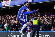 Willian  of Chelsea ® celebrates with teammate Cesc Fabregas after he scores Chelsea's first goal. The Emirates FA Cup 4th round match, Chelsea v Brentford at Stamford Bridge in London on Saturday 28th January 2017.<br /> pic by Steffan Bowen, Andrew Orchard sports photography.