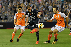 November 11, 2017 - Melbourne, Victoria, Australia - LEIGH BROXHAM (6) of the Victory kicks the ball in the round six match of the A-League between Melbourne Victory and Brisbane Roar at Etihad Stadium, Melbourne, Australia. Melbourne drew 1-1 (Credit Image: © Sydney Low via ZUMA Wire)