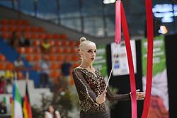 July 28, 2018 - Chieti, Abruzzo, Italy - Rhythmic gymnast Olena Diachenko of Ukraine performs her ribbon routine during the Rhythmic Gymnastics pre World Championship Italy-Ukraine-Germany at Palatricalle on 29th of July 2018 in Chieti Italy. (Credit Image: © Franco Romano/NurPhoto via ZUMA Press)
