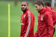 Ashley Williams of Wales (l) chats to Chris Gunter during the Wales football team training at Hensol Castle, Vale of Glamorgan, South Wales on Tuesday 10th November 2015. the team are training ahead of their friendly against the Netherlands on Friday,<br /> pic by  Andrew Orchard, Andrew Orchard sports photography.