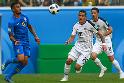 June 22, 2018 - Saint Petersburg, Russia - Gabriel Jesus (L) of the Brazil national football team and David Guzman, Bryan Oviedo (R) of the Costa Rica national football team vie for the ball during the 2018 FIFA World Cup match, first stage - Group E between Brazil and Costa Rica at Saint Petersburg Stadium on June 22, 2018 in St. Petersburg, Russia. (Credit Image: © Igor Russak/NurPhoto via ZUMA Press)