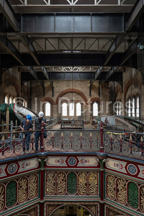 Visitors enjoy the well preserved Victorian architecture at Crossness Pumping Station on the 22nd September 2019 in London in the United Kingdom. Built by Sir Joseph Bazalgette for Londons sewage system and opened in 1865, Crossness Pumping Station is a Grade 1 Listed building.