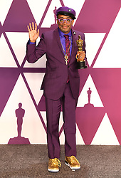 """Spike Lee, winner of the Best Adapted Screenplay Award for """"BlacKkKlansman"""" at the 91st Annual Academy Awards"""