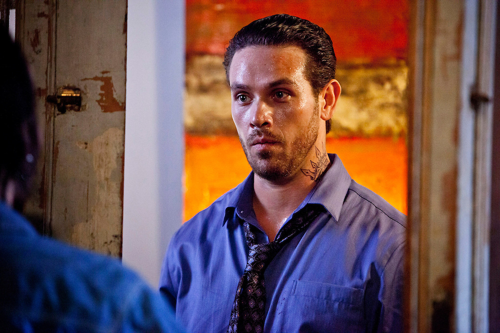 In this episode of Breakout Kings, Cruz arrives at the home of Michael Spillane (Billy Blair), a man who drunkenly ran over and killed an eight-year-old girl but avoided jail time due to a faulty breathalyzer test. Photo: Skip Bolen / A&E Television Networks