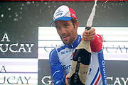 Thibaut Pinot (FRA, Groupama FDJ) celebrating his stage victory, podium during the 73th Edition of the 2018 Tour of Spain, Vuelta Espana 2018, Stage 15 cycling race, 15th stage Ribera de Arriba - Lagos de Covadonga 178,2 km on September 9, 2018 in Spain - Photo Luis Angel Gomez/ BettiniPhoto / ProSportsImages / DPPI