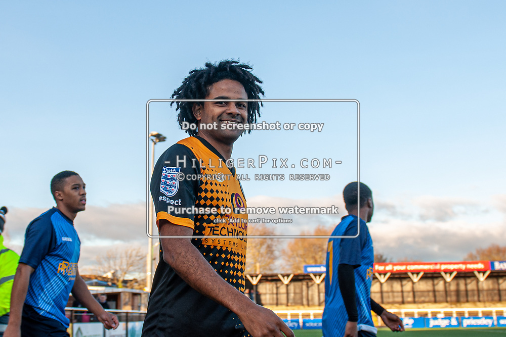 BROMLEY, UK - JANUARY 04: Bradley Pritchard, of Cray Wanderers FC, walks out onto the pitch before the BetVictor Isthmian Premier League match between Cray Wanderers and Wingate & Finchley at Hayes Lane on January 4, 2020 in Bromley, UK. <br /> (Photo: Jon Hilliger)