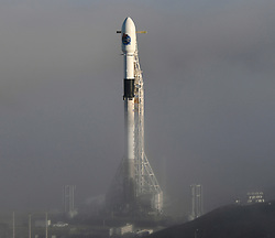October 7, 2018 - Vandenberg AFB, California, U.S. - SpaceX F-9 emerges from the thick fog as engineers prepare for the launch of a Falcon 9 rocket scheduled for 7:22 p.m. PDT (0221 GMT) Monday, with a SAOCOM 1A, a radar observation satellite for Argentina. The mission will include the first landing attempt by a SpaceX booster at America's West Coast spaceport along with couple of sonic booms will be heard doing reentry. (Credit Image: © Gene Blevins/ZUMA Wire)