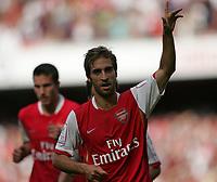 Photo: Lee Earle.<br /> Arsenal v Paris Saint-Germain. The Emirates Cup. 28/07/2007.Arsenal's Mathieu Flamini celebrates after scoring their opening goal.