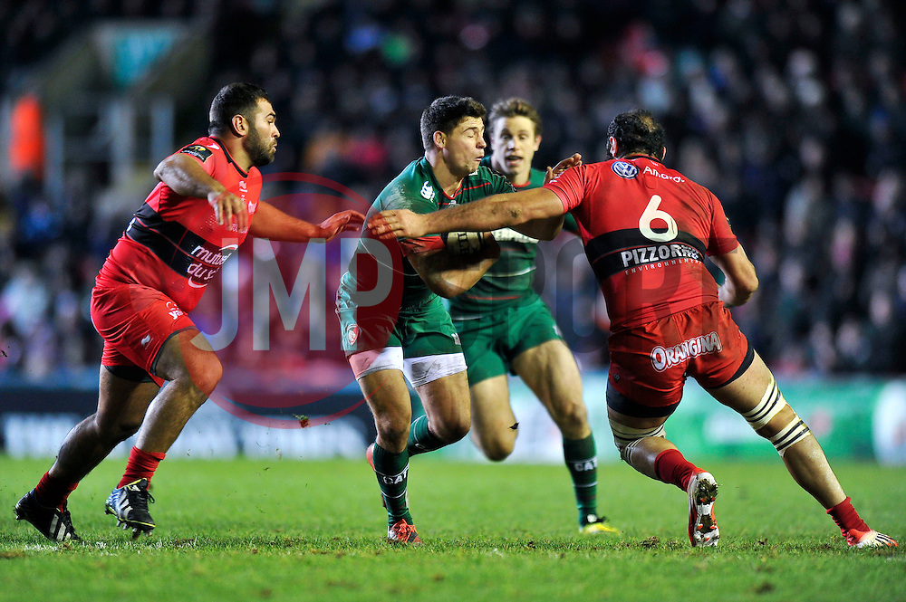 Ben Youngs of Leicester Tigers takes on the Toulon defence - Photo mandatory by-line: Patrick Khachfe/JMP - Mobile: 07966 386802 07/12/2014 - SPORT - RUGBY UNION - Leicester - Welford Road - Leicester Tigers v Toulon - European Rugby Champions Cup