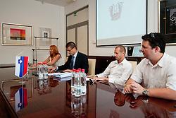 Spela Predan, Matjaz Rakovec (predsednik HZS), Dejan Kontrec ter Robert Verlic na tiskovni konferenci HZS pred skupscino Hokejske zveze Slovenije, on September 7, 2011, in Ljubljana, Slovenia. (Photo by Matic Klansek Velej / Sportida)