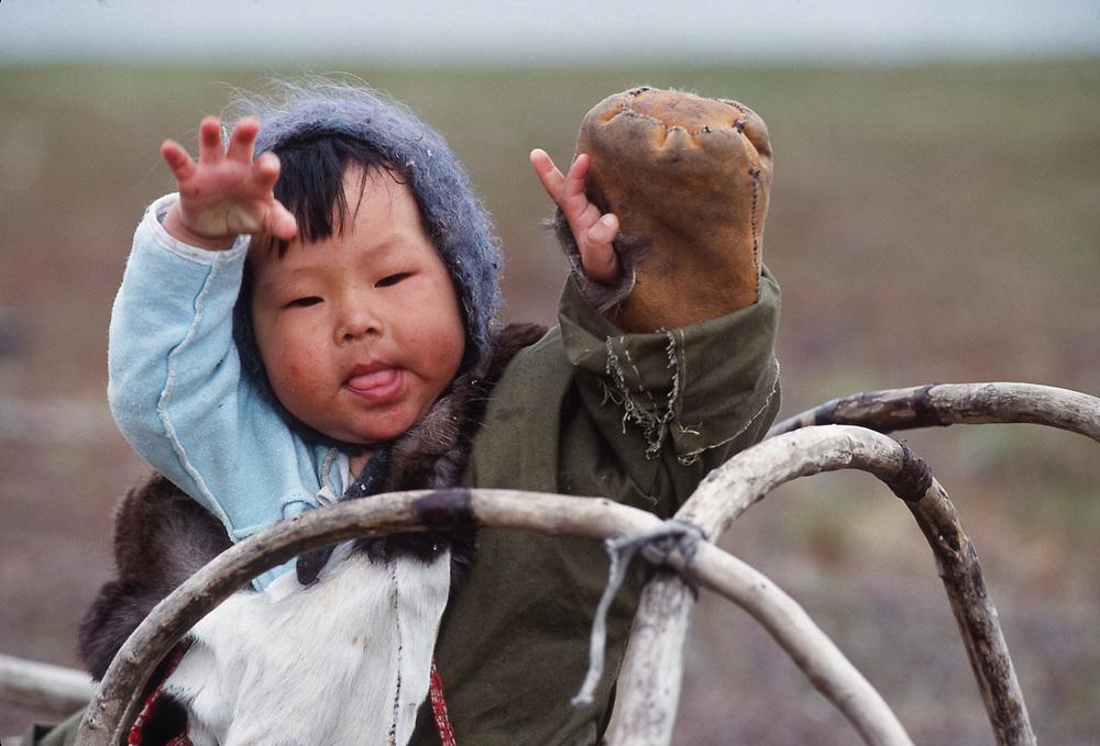 Young Chukchi girl, Chukchi reindeer camp Bering Sea coastline, Chukotsk Peninsula, NE Russia, 1992