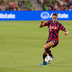 Veteran forward ALEX MORGAN brings the ball downfield during the first half of the US Women's National Team (USWNT) victory over Nigeria, 2-0 in the inaugural match of Austin's new Q2 Stadium. The U.S. women's team, an Olympic favorite, is wrapping up a series of summer matches to prep for the Tokyo Games.