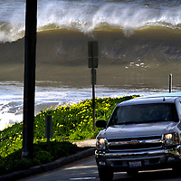 A large wave crashes on Twin Lakes State Beach at the end of Seventh Avenue in Santa Cruz, California.<br /> Photo by Shmuel Thaler <br /> shmuel_thaler@yahoo.com www.shmuelthaler.com