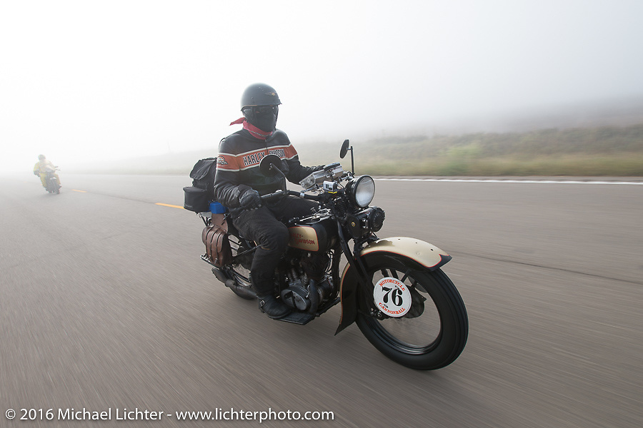 """Robert Gustavsson or """"Big Swede"""" as he is fondly known, riding his 1931 Harley-Davidson VL through the fog during Stage 8 of the Motorcycle Cannonball Cross-Country Endurance Run, which on this day ran from Junction City, KS to Burlington, CO., USA. Saturday, September 13, 2014.  Photography ©2014 Michael Lichter."""