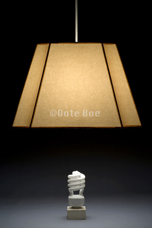 old style lamp shade with an energy saving light bulb placed under it