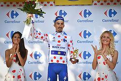 July 22, 2018 - Mende, FRANCE - French Julian Alaphilippe of Quick-Step Floors celebrates on the podium in the red polka-dot jersey for best climber after the 15th stage in the 105th edition of the Tour de France cycling race, from Millau to Carcassone (181,5km), France, Sunday 22 July 2018. This year's Tour de France takes place from July 7th to July 29th. BELGA PHOTO DAVID STOCKMAN (Credit Image: © David Stockman/Belga via ZUMA Press)
