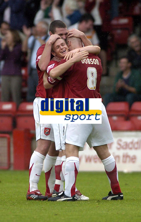 Photo: Dave Linney.<br />Walsall v Mansfield Town. Coca Cola League 2. 30/09/2006Walsall's .Dean Keates (C) celebrates after scoring for Walsall.