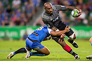 Nemani Nadolo of the BNZ Crusaders is tackled by Ben Tapuai of the Western Force during the Canterbury Crusaders v the Western Force Super Rugby Match. Nib Stadium, Perth, Western Australia, 8th April 2016. Copyright Image: Daniel Carson / www.photosport.nz