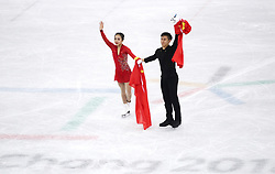PYEONGCHANG, Feb. 15, 2018  Sui Wenjing (L) and Han Cong of China gesture to audience after the pair skating free skating of figure skating at the 2018 PyeongChang Winter Olympic Games, in Gangneung Ice Arena, South Korea, on Feb. 15, 2018. Sui Wenjing and Han Cong won the silver medal in the pair skating event with 235.47 points in total. (Credit Image: © Fei Maohua/Xinhua via ZUMA Wire)